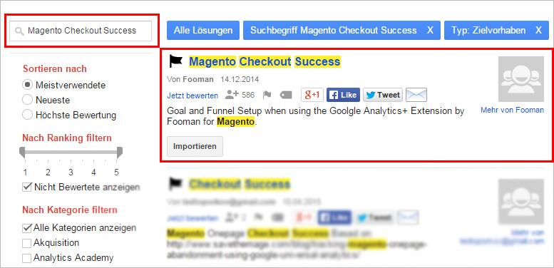Magento Checkout Success Filter für Google Analytics