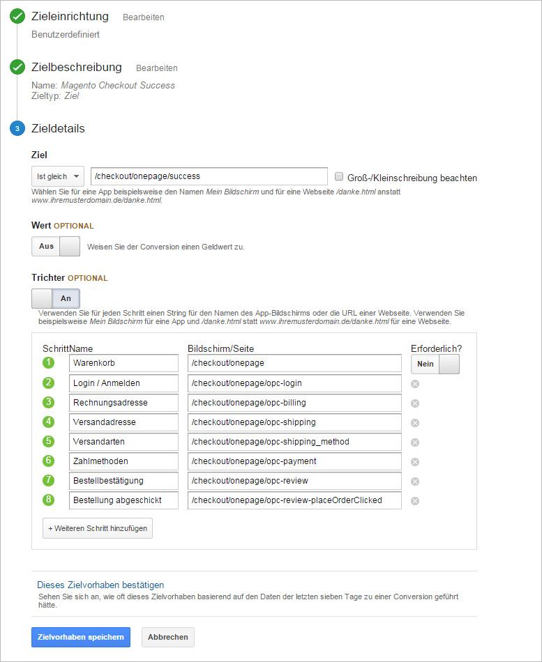 Magento Onepage Warenkorb ✓ Zieltrichter konfigurieren