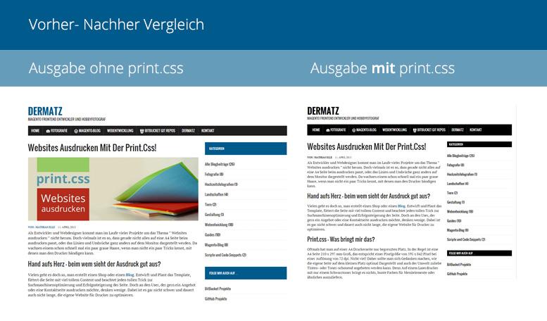 Vergleich unserer Website mit und ohne Print.css