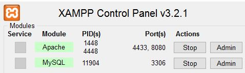 Statusanzeige der Xampp Control-Panel in Windows