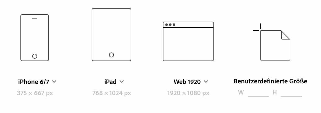 Viele Formate für Adobe Xd-Wireframe Tool